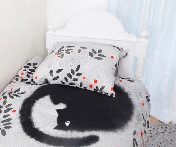 Bedding set black cats