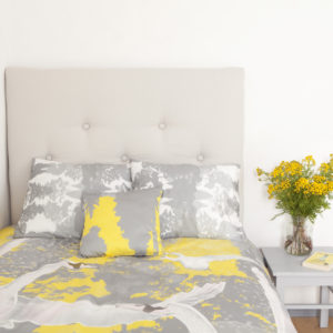 Voodipesukomplekt Luiged kollases; Bedding set Swans in yellow; Bettgarnitur Schwäne in gelb