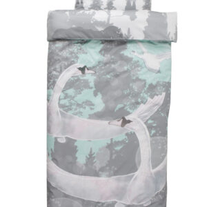 Bedding set Swans in blue