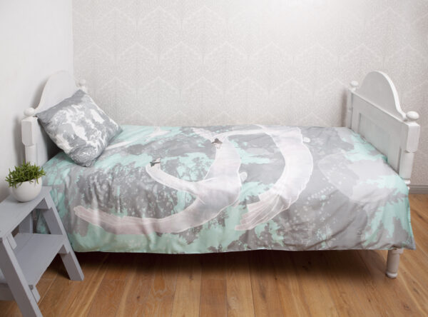 Bedding set Swans in blue